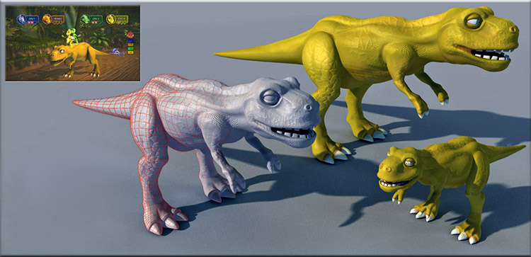 Buzz Junior Dino Den T-rex. Design Drawer Studios Character development for Games, marketing and branding. 3D CGI bespoke character design.