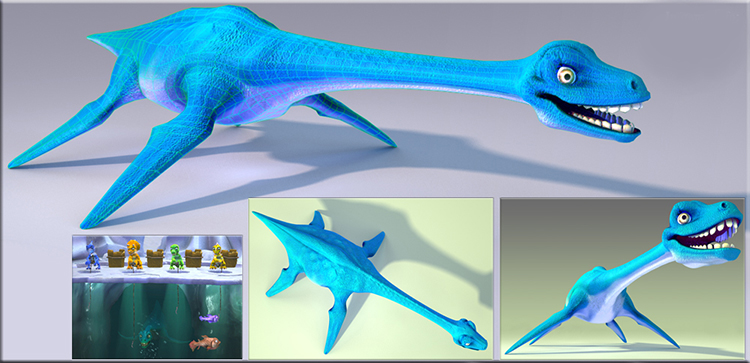 Buzz Junior Dino Den Plesiosaurus. Design Drawer Studios Character development for Games, marketing and branding. 3D CGI bespoke character design.