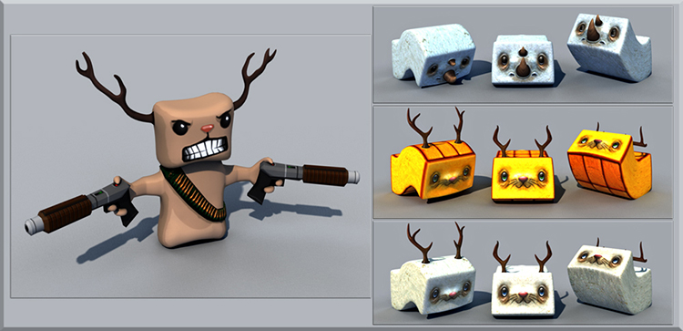 Tofu hunter. Design Drawer Studios Character development for Games, marketing and branding. 3D CGI bespoke character design.