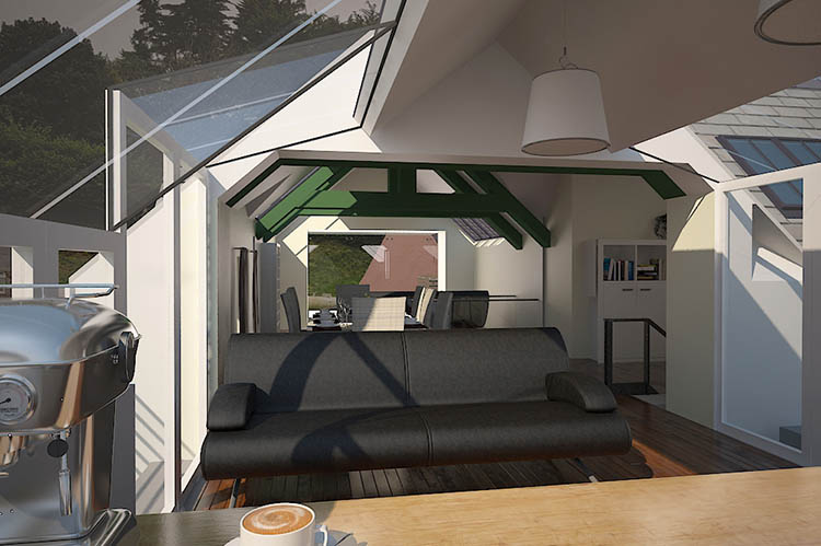 House Extension Visualisation. Design Drawer Studios, Architectural Visualisation Service includes 3D modelling, interior and exterior CGI renders and innovate presentations that communicate designs from architectural plans to aid marketing, sales and planning permissions