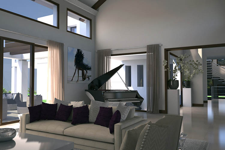 Bespoke Modern New Build Property Interior Visualisation. Design Drawer Studios, Architectural Visualisation Service includes 3D modelling, interior and exterior CGI renders and innovate presentations that communicate designs from architectural plans to aid marketing, sales and planning permissions
