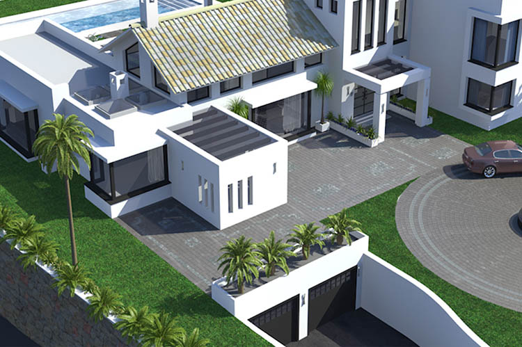 New Build Property Aerial View. Design Drawer Studios, Architectural Visualisation Service includes 3D modelling, interior and exterior CGI renders and innovate presentations that communicate designs from architectural plans to aid marketing, sales and planning permissions